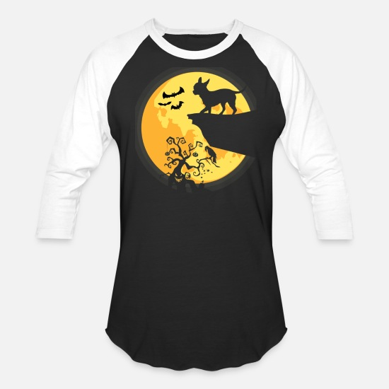 Halloween T-Shirts - Halloween Costume Silhouette Chihuahua Dog Moon - Unisex Baseball T-Shirt black/white