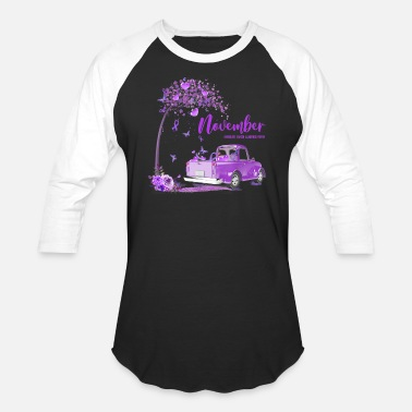 Purple Truck November Pancreatic Cancer Awareness - Unisex Baseball T-Shirt