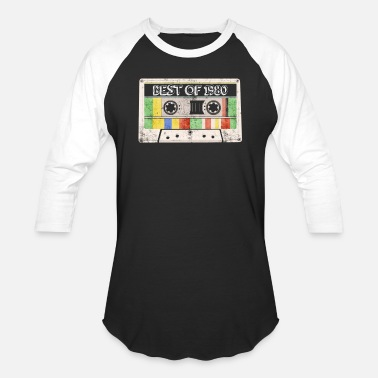 1980 Best of 1980 Vintage Retro Casette 40th Birthday - Unisex Baseball T-Shirt
