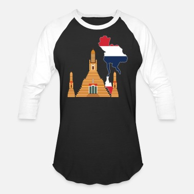Buddhist Flag Thailand map Wat Arun Buddhist temple country - Unisex Baseball T-Shirt