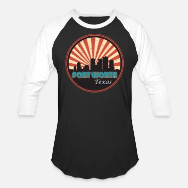South Beach Retro 1970s Fort Worth Texas City State Skyline - Unisex Baseball T-Shirt