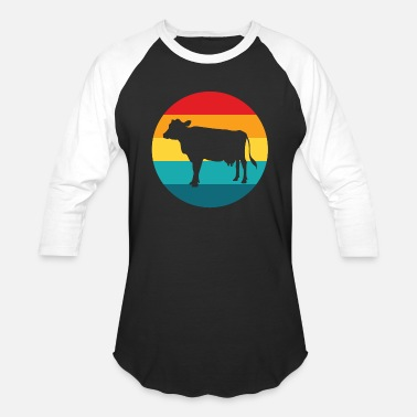 Cow And Calf Black Cow Bull Black White - Baseball T-Shirt