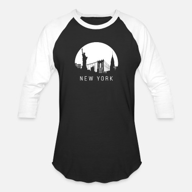 New York New York, skyline - Unisex Baseball T-Shirt