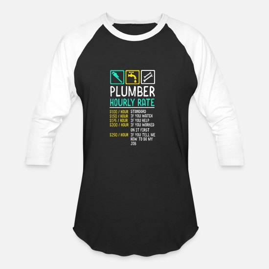 Plumber T-Shirts - Plumber Hourly Wage - Unisex Baseball T-Shirt black/white