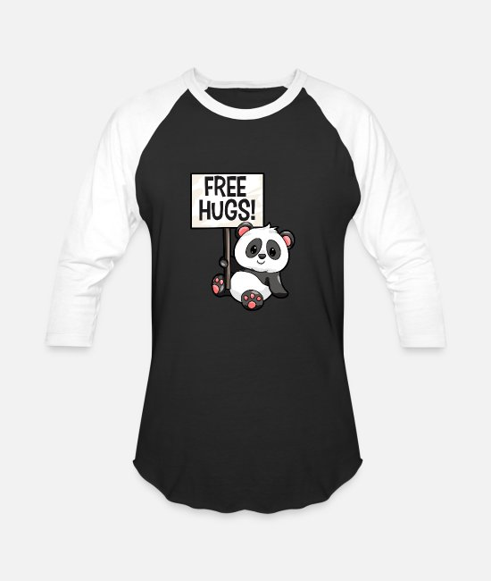 Design T-Shirts - Panda Free Hugs - Unisex Baseball T-Shirt black/white