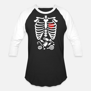 Cage Scary Halloween X-Ray costume candy - Unisex Baseball T-Shirt