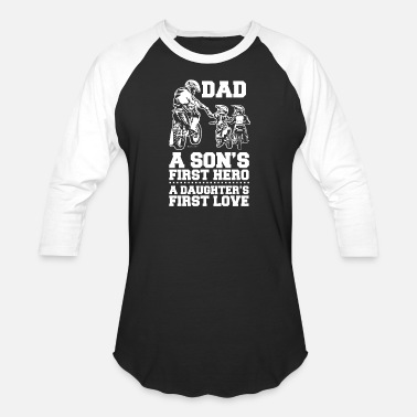 Two Dads Biker Dad and Two Kids - Baseball T-Shirt