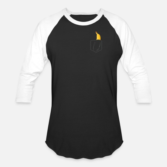 Banana T-Shirts - Funny Banana Pocket Shirt I Gift Men Women Kids - Unisex Baseball T-Shirt black/white