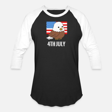 Bald Kids Bald Eagle American Flag 4th of July Independence - Baseball T-Shirt