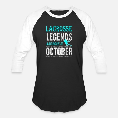 Boys Lacrosse Lacrosse Legends are born in October Boys - Baseball T-Shirt