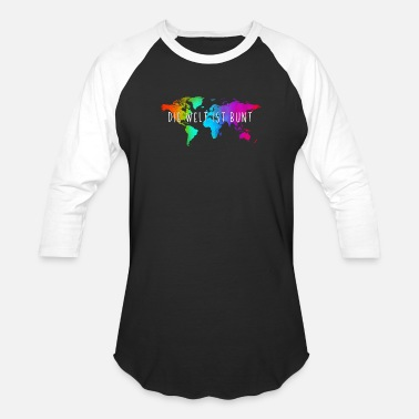 German Language Cool The World is Colorful in German Language - Unisex Baseball T-Shirt