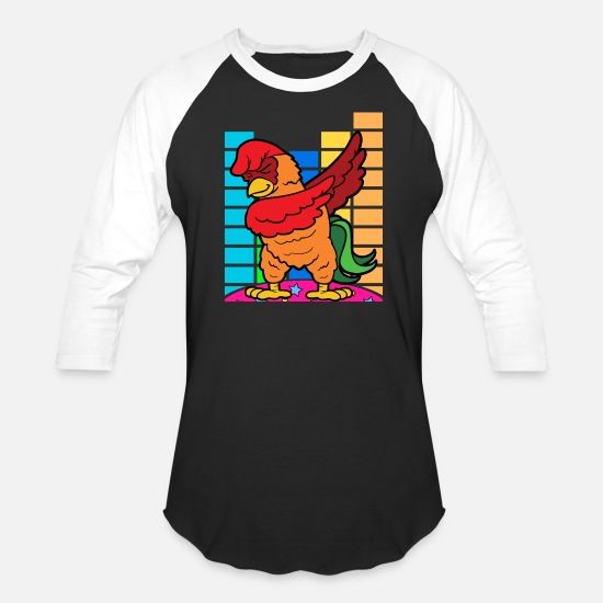 Rap T-Shirts - Dabbing Dab Rooster Chicken Disco Party Music - Unisex Baseball T-Shirt black/white