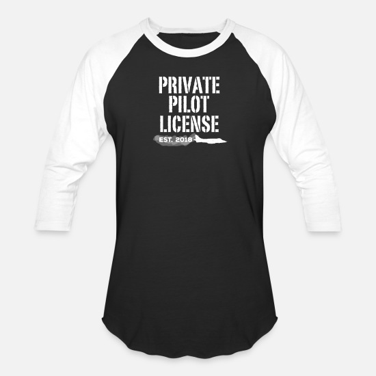 Private T-Shirts - Private Pilot License 2018 Congratulation Gift - Unisex Baseball T-Shirt black/white