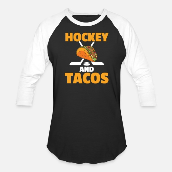 Tuesday T-Shirts - Hockey and Tacos - Unisex Baseball T-Shirt black/white
