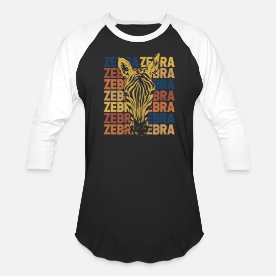 Gift Idea T-Shirts - Zebra Stripes Zebras Black White Animal Gift - Unisex Baseball T-Shirt black/white