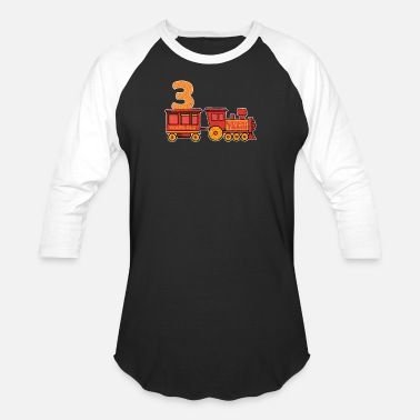 Steam Locomotive 3 birthday locomotive steam locomotive - Baseball T-Shirt