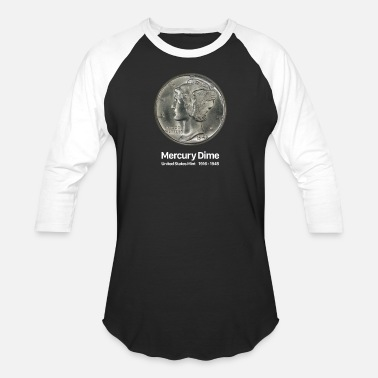 Mercury Dime - Coin Collector Collecting - Unisex Baseball T-Shirt