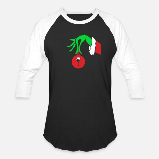3973ed97 Grinch T-Shirts - Funny Grinch Hand Holding Wine Ornament Christmas -  Unisex Baseball T