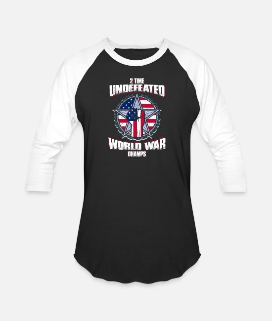 World's Best T-Shirts - 2 Time Undefeated World War Champ T shirt - Unisex Baseball T-Shirt black/white