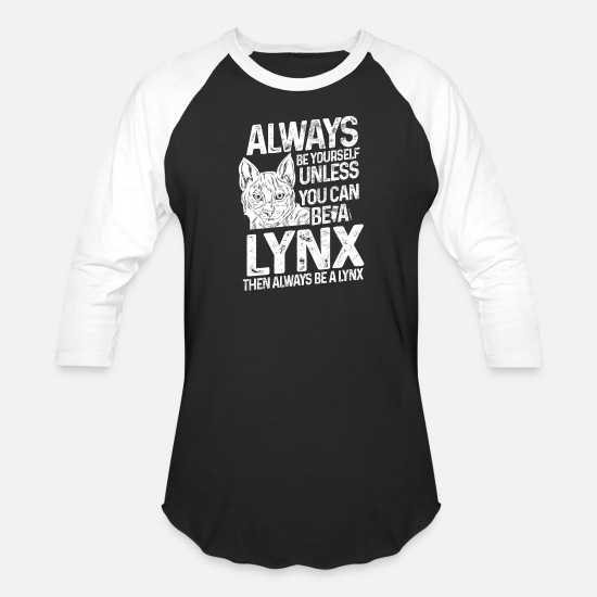 Gift Idea T-Shirts - Lynx animal - Unisex Baseball T-Shirt black/white