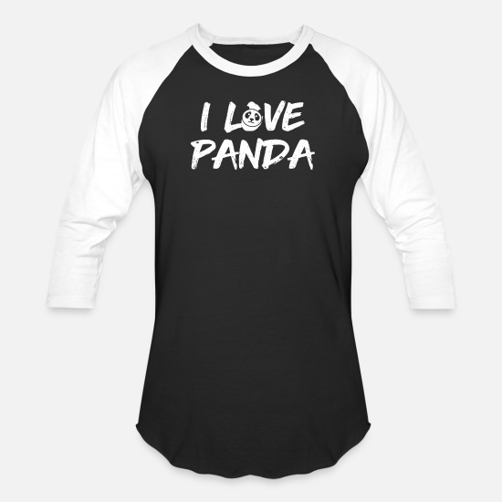 Love T-Shirts - Panda animal love - Unisex Baseball T-Shirt black/white