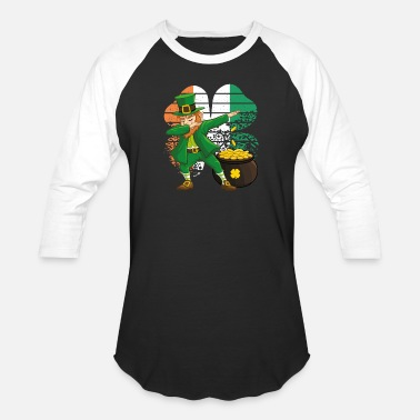 Youth Dabbing Leprechaun St. Patricks Day Vintage Retro - Unisex Baseball T-Shirt