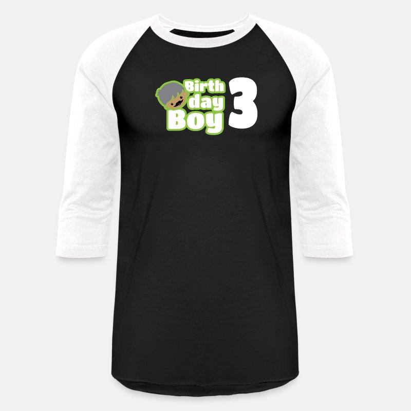 Unisex Baseball T ShirtBirthday Boy Three