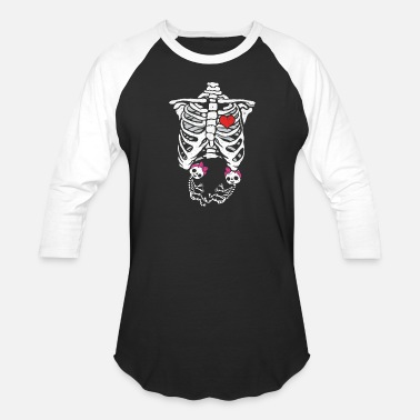 e0a68a3cc699f Pregnant With Twins Twin Pregnant Skeleton Costume Halloween Party Mom -  Unisex Baseball T-Shirt