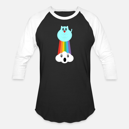 Japan T-Shirts - Rainbow Cat Anime Japanese Manga Otaku - Unisex Baseball T-Shirt black/white