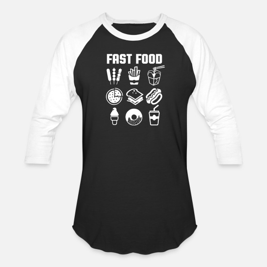 Fast Food T-Shirts - Fast Food - Unisex Baseball T-Shirt black/white