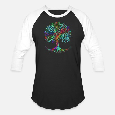 Colorful Colorful Life is really Good Vintage Tree Art Cool - Unisex Baseball T-Shirt