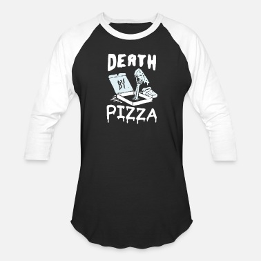 Pizza Death By Pizza Halloween Quote - Unisex Baseball T-Shirt