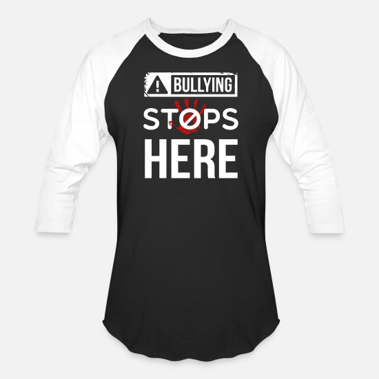 Bullying T-Shirts - Bullying Stops Here ! Anti Bullying Shirt - Unisex Baseball T-Shirt black/white
