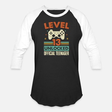 Teenager Level 13 Unlocked Official Teenager 13th Birthday - Unisex Baseball T-Shirt