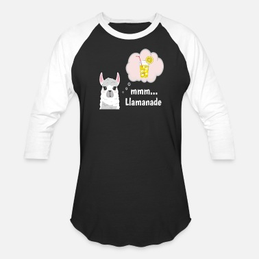 FUNNY LLAMA HAVING A GLASS OF COOL LEMONADE - Unisex Baseball T-Shirt