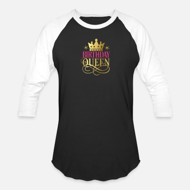 Gold Birthday Queen Faux Gold Crown - Unisex Baseball T-Shirt