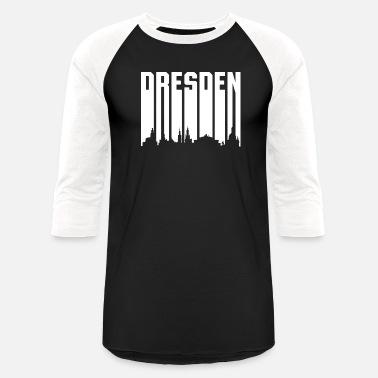 626b8416 Retro Font Dresden - White Font - Unisex Baseball T-Shirt
