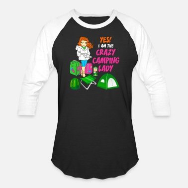Camping With Friends Yes Im The Crazy Camping Lady Tshirt - Unisex Baseball T-Shirt