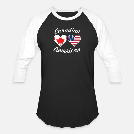 Flag T-Shirts - Canadian American Flag Hearts - Unisex Baseball T-Shirt black/white