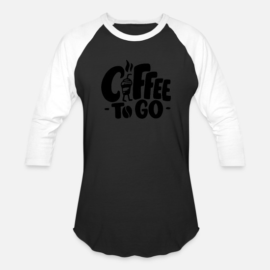 Coffee Bean T-Shirts - Hot Coffee Cup to Go - Unisex Baseball T-Shirt black/white