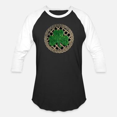 Celtic Black Celtic Knots And Shamrock - Unisex Baseball T-Shirt