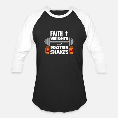 6e864d82 Faith Weights Christian Gym Humor Exercise Workout - Unisex Baseball T-Shirt