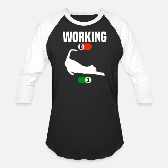 Hipster T-Shirts - Working Job OFF cute cat ON gift - Unisex Baseball T-Shirt black/white
