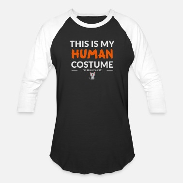 Meow Human Costume for Cats - Halloween Gifts - Unisex Baseball T-Shirt