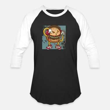 Bun Funny Hippie Cheeseburger Listening And Jiving To - Unisex Baseball T-Shirt