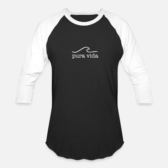 Vida T-Shirts - Pura Vida gift for Surfers - Unisex Baseball T-Shirt black/white