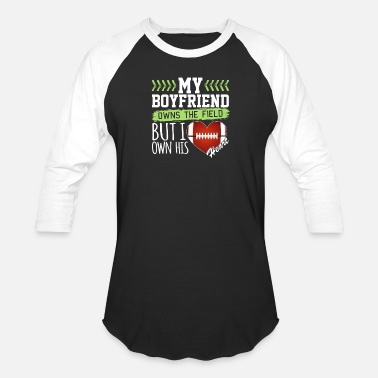 I Heart My Football Boyfriend Football Girlfriend I Own His Heart - Baseball T-Shirt