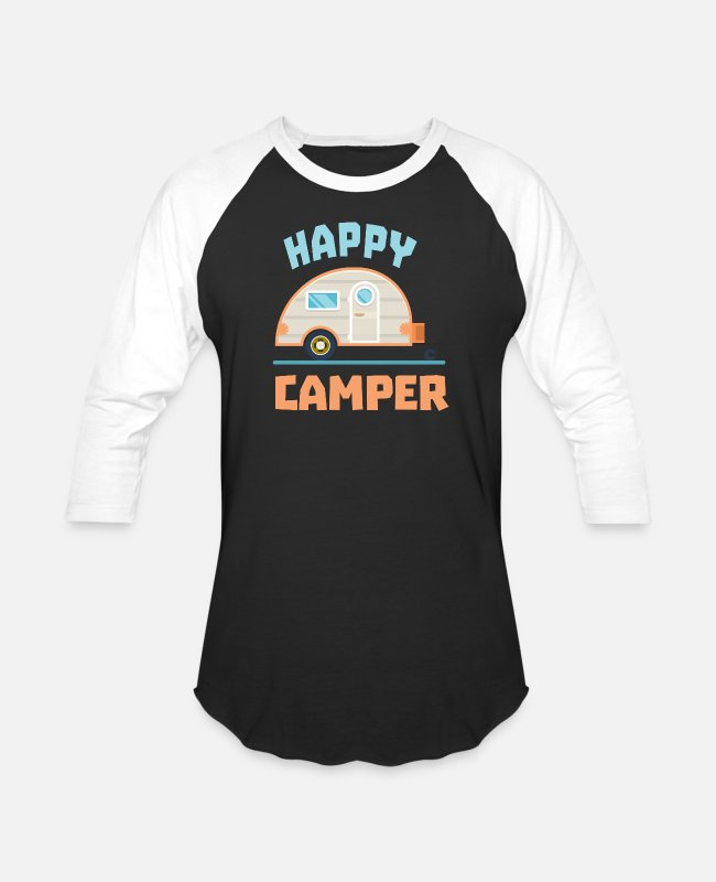 Camper T-Shirts - Happy Camper Camping - Unisex Baseball T-Shirt black/white