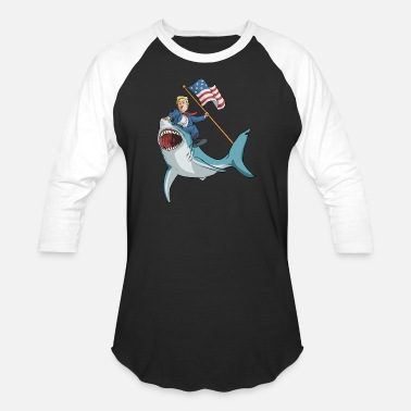 Sharks 4th Of July Donald Trump Shark - Baseball T-Shirt