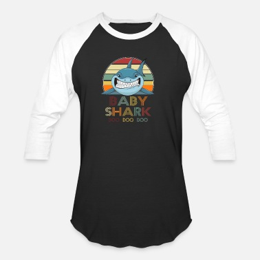 Baby Retro Vintage Baby Shark Tshirt gift for Father - Baseball T-Shirt